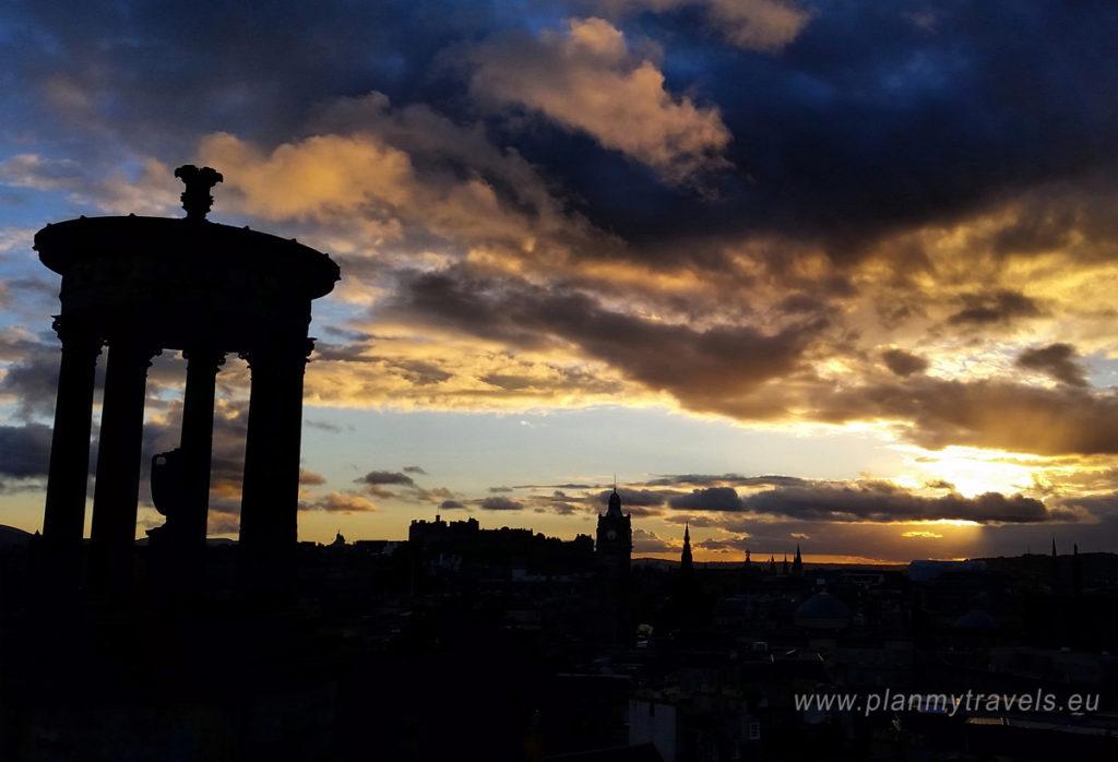 Edinburgh and St. Andrews, Sunset over Edinburgh, PlanMyTravels.eu