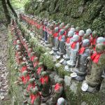Japan, Himeji, Mt. Sosha, Jizo Bodhisattva figures