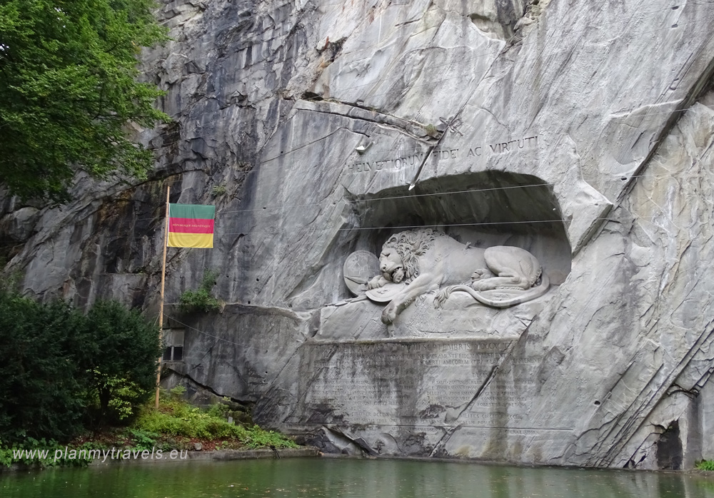 Switzerland, Lucerne, statue of Swiss guardsmen, monument to the dying lion, Löwedenkmal
