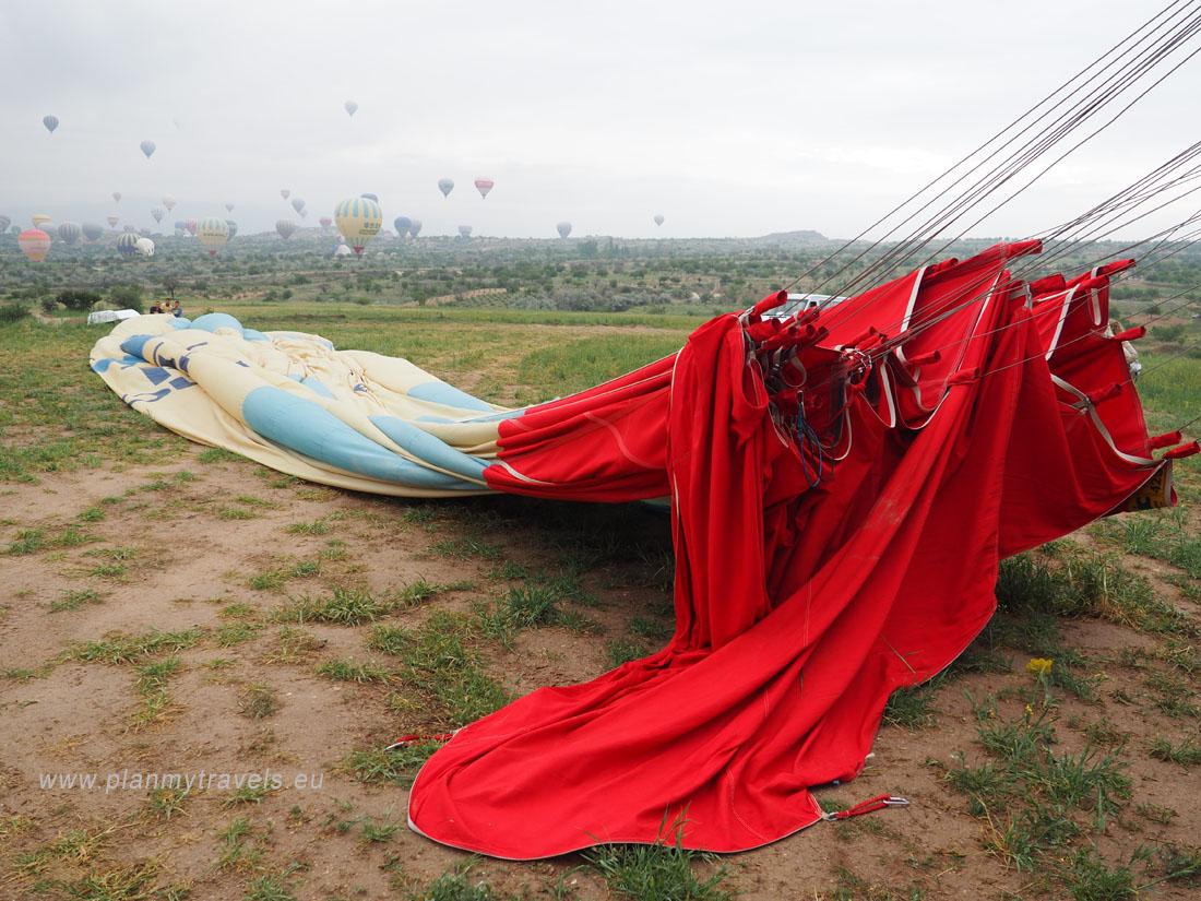 Cappadocia rolling up the balloon