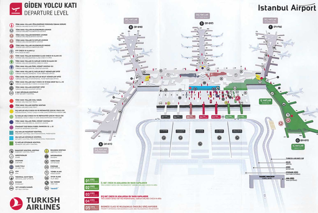 Istanbul new Airport Departure Level map