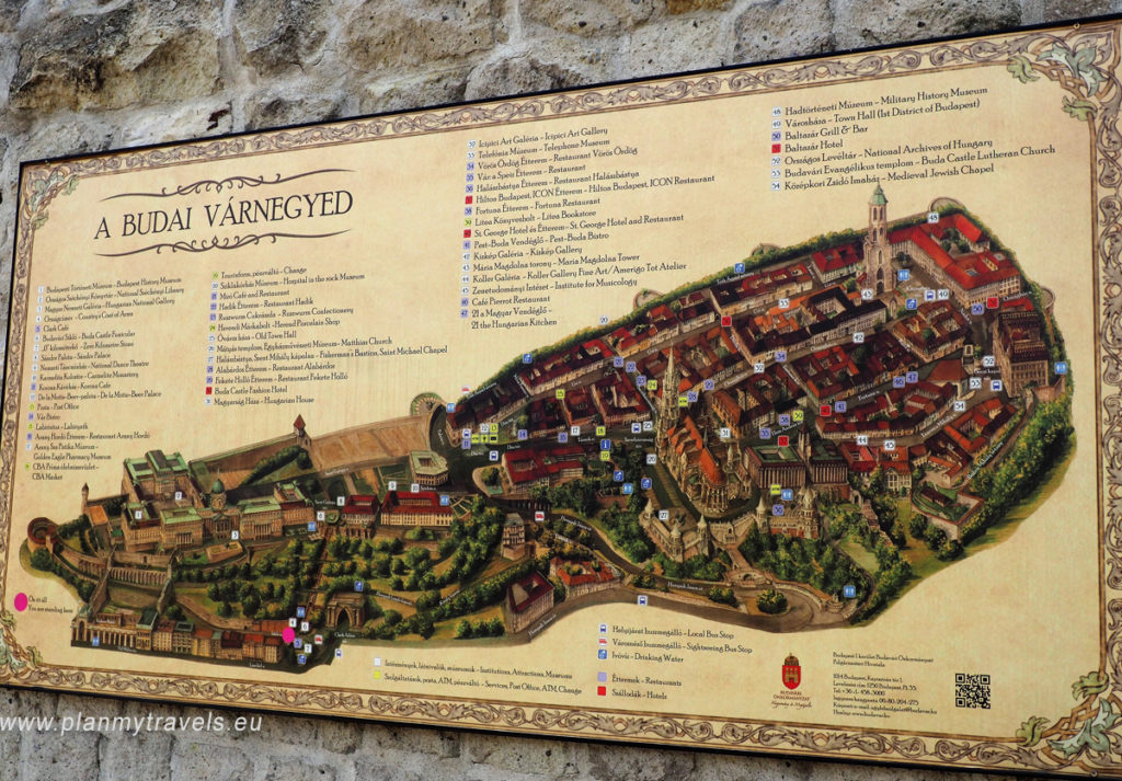 Castle Hill map of Buda in Hungary