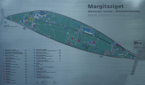 Margaret Island map, on the Danube river in Budapest Hungary