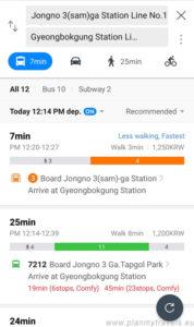 Naver Map przykładowa trasa w Seulu