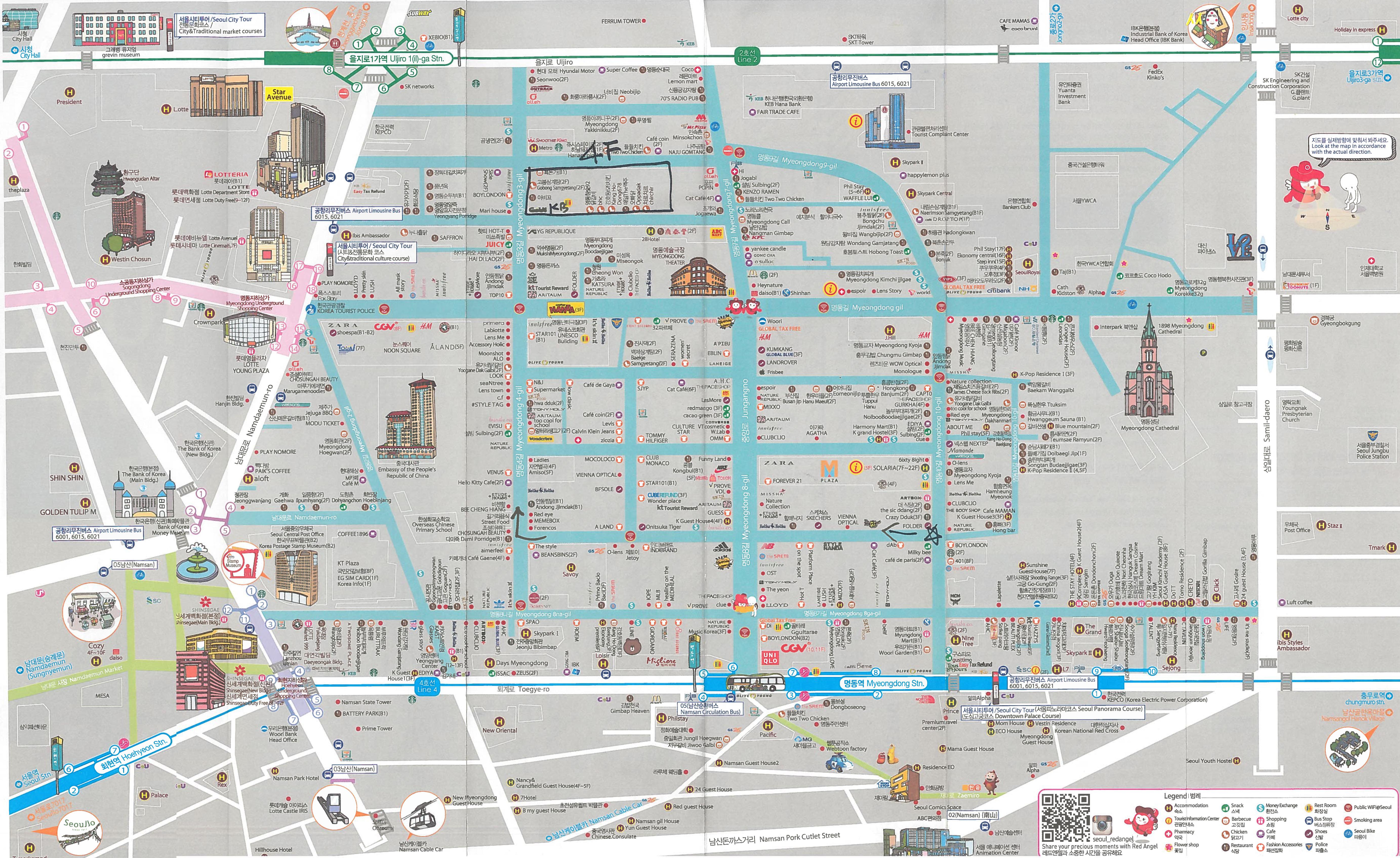 Korea Południowa, Seul, Myeongdong mapa ze sklepami, Seul jak spędzić czas wolny, map of Myeongdong
