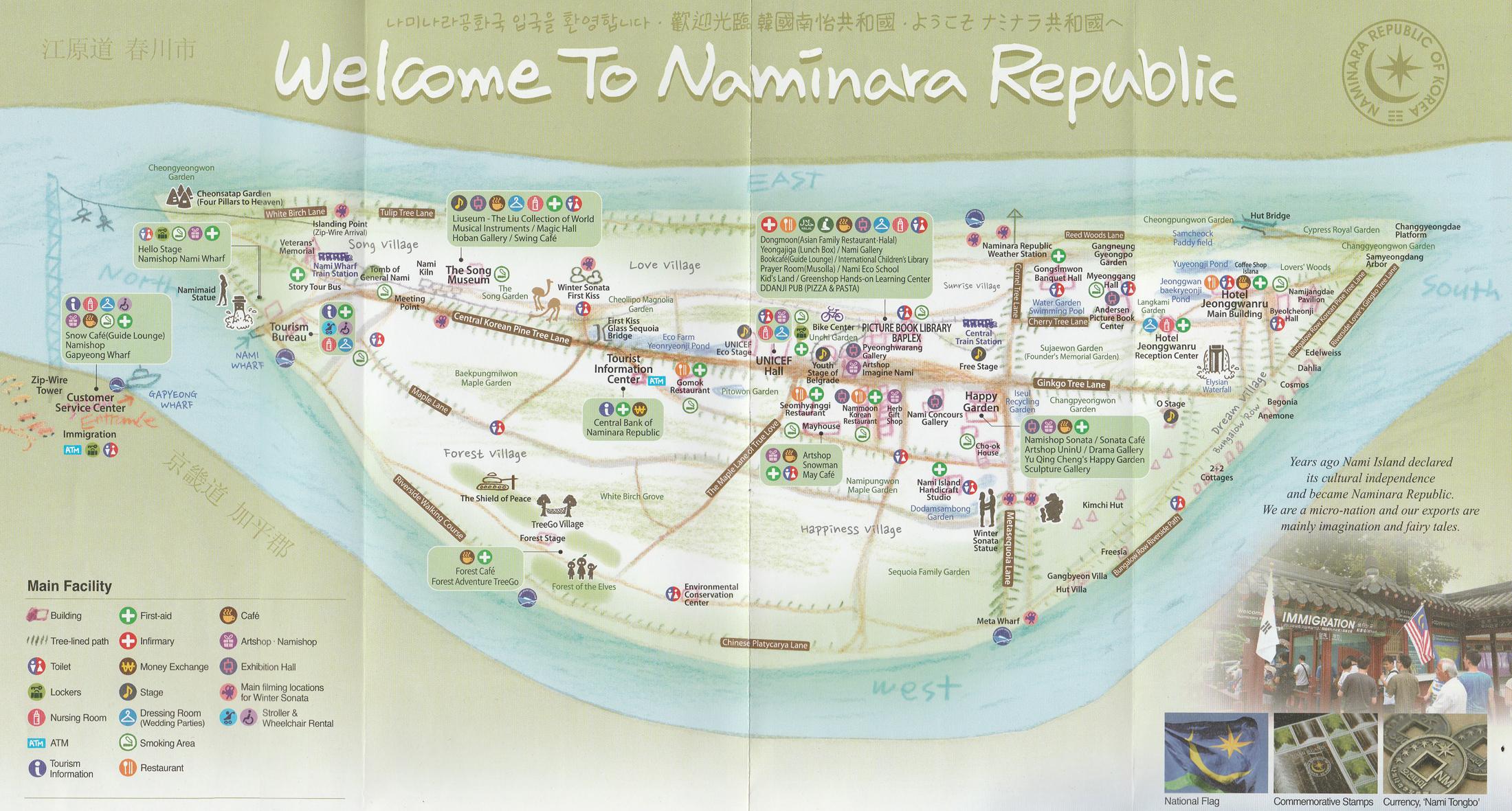 Nami Island - mapa, Wyspa Nami i Petit France