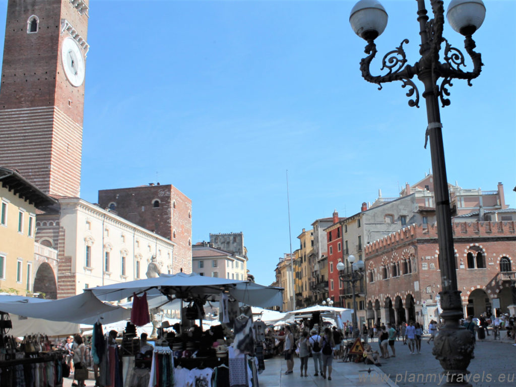 Italy, Piazza Erbe in Verona; Verona travel guide, Verona travel plan, Verona what to see