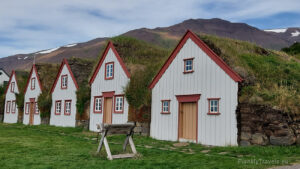 Iceland, Akureyri, Laufas Turf Houses in Eyjafjörður