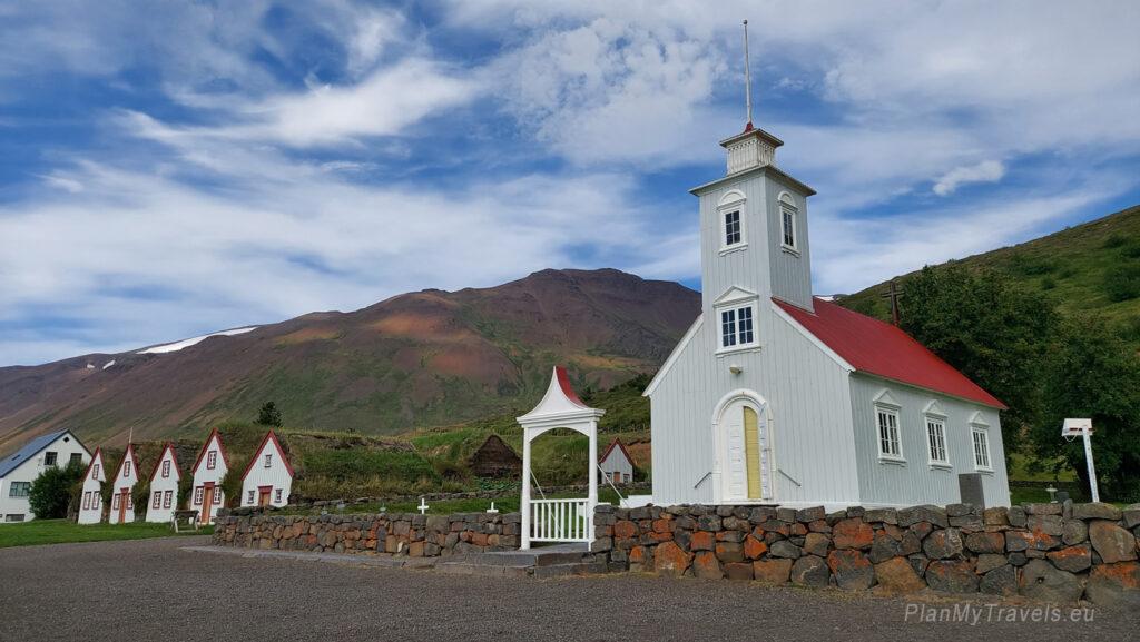 Iceland, Akureyri, Laufas Turf Houses in Eyjafjörður, wooden church